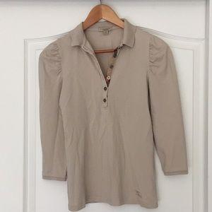 Burberry Brit 3/4 sleeve beige polo shirt
